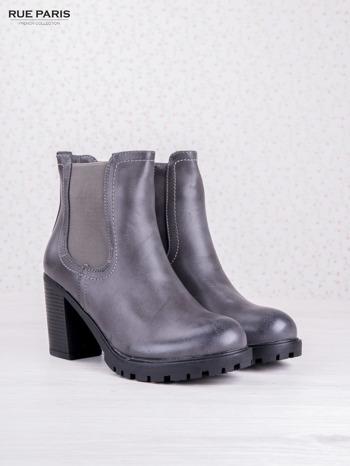 Szare cieniowane botki faux leather z gumkowaną wstawką na słupku                                  zdj.                                  2