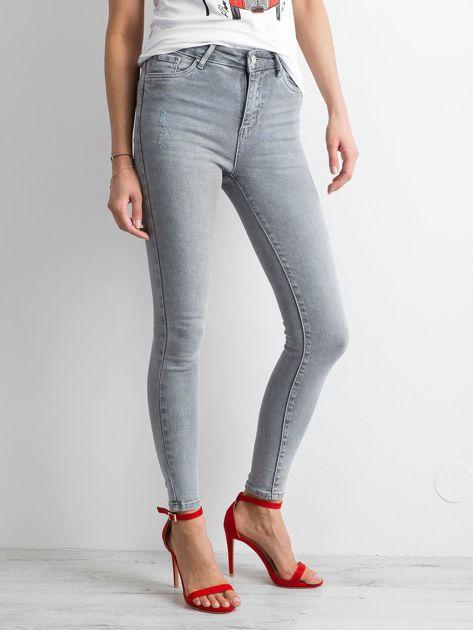 Szare damskie jeansy high waist                              zdj.                              3