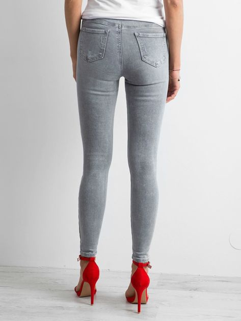 Szare damskie jeansy high waist                              zdj.                              2