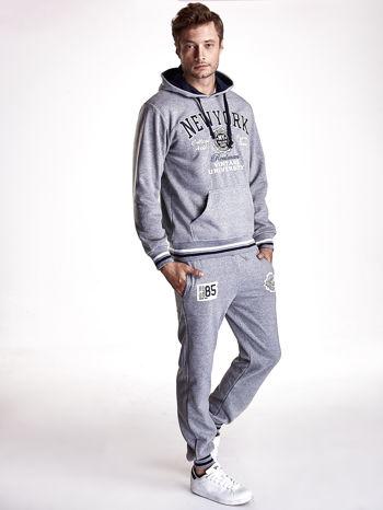 Szare dresowe spodnie męskie z naszywkami i kieszeniami                                  zdj.                                  7