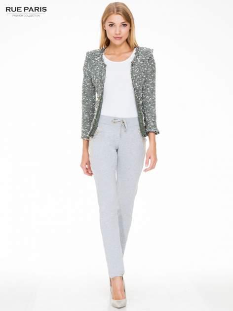 Szare eleganckie spodnie dresowe z dżetami                                  zdj.                                  4