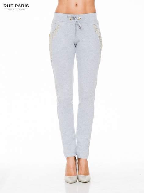 Szare eleganckie spodnie dresowe z dżetami                                  zdj.                                  1