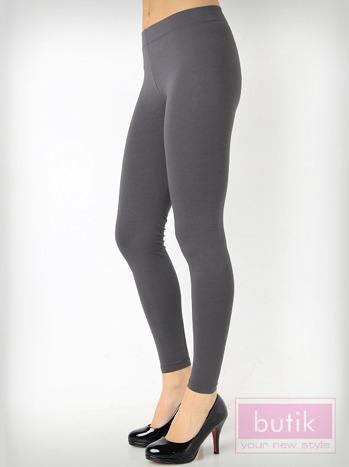 Szare gładkie legginsy bawełniane                                  zdj.                                  2
