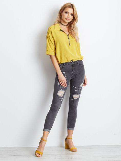 Szare jeansy Crossline                              zdj.                              4