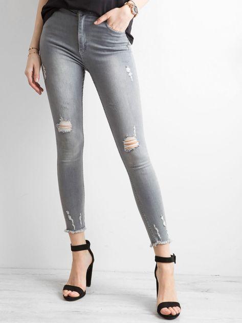 Szare jeansy high waist z przetarciami                              zdj.                              1