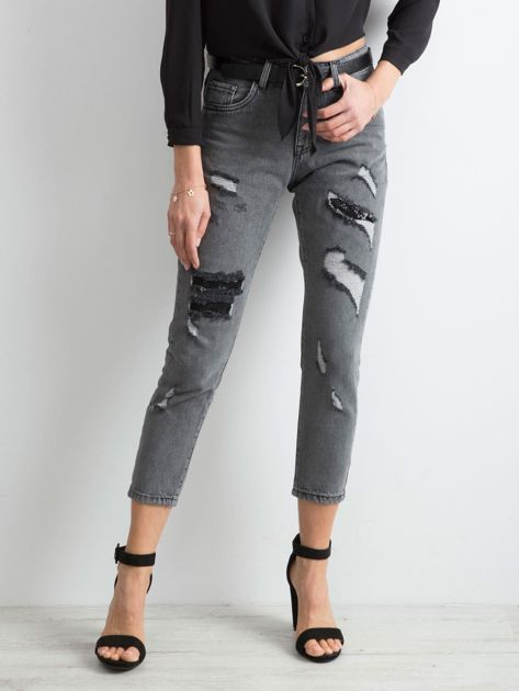 Szare jeansy mom fit