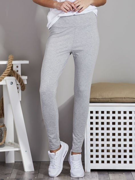 Szare legginsy z szerokim pasem                              zdj.                              1