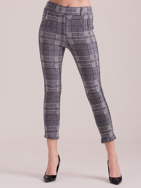 Szare materiałowe spodnie w kratkę                              zdj.                              3