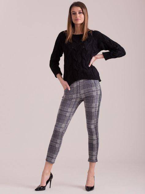 Szare materiałowe spodnie w kratkę                              zdj.                              4