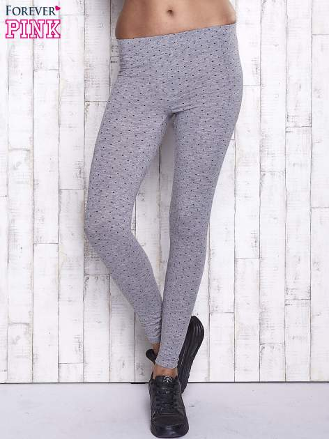 Szare melanżowe legginsy w kropki                                  zdj.                                  1