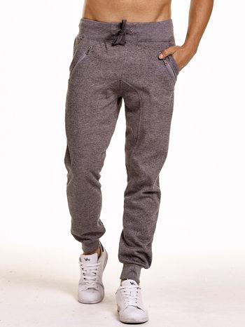 Szare melanżowe spodnie męskie z zasuwanymi kieszeniami                                  zdj.                                  1