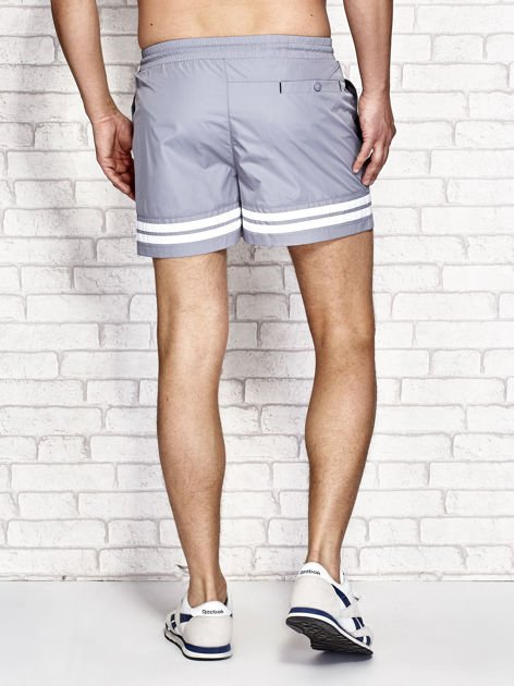 Szare męskie szorty kąpielowe w marynarskim stylu                              zdj.                              3