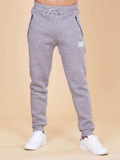 Szare ocieplane spodnie dresowe męskie                              zdj.                              1