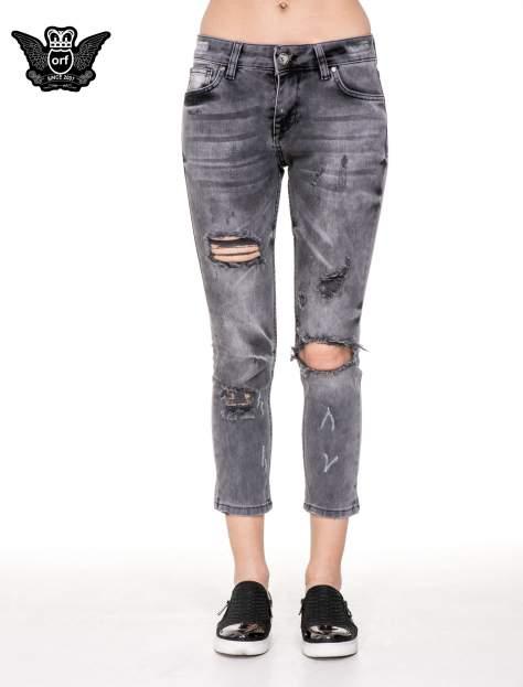 Szare rozjaśniane spodnie jeansowe 7/8 z rozdarciami                                  zdj.                                  5