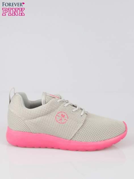 Szare siateczkowe buty sportowe na różowej podeszwie                                  zdj.                                  1
