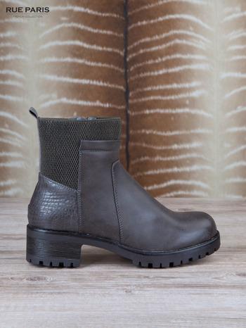 Szare skórzane botki faux leather na suwak, z traktorową podeszwą                                  zdj.                                  1