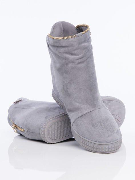 Szare sneakersy z ozdobnym suwakiem dookoła cholewki                              zdj.                              4