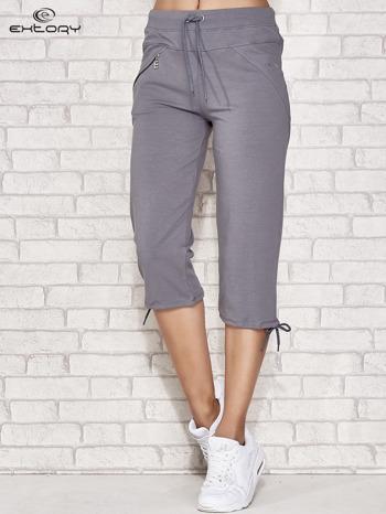 Szare spodnie dresowe capri z kieszonką