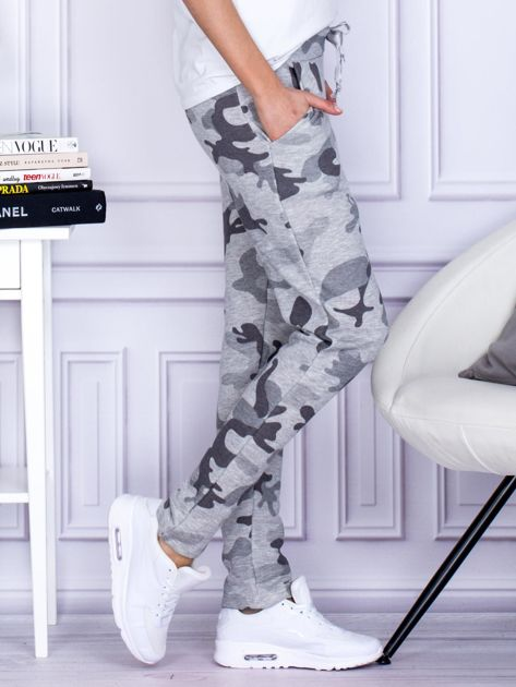 Szare spodnie dresowe we wzór moro                                   zdj.                                  5