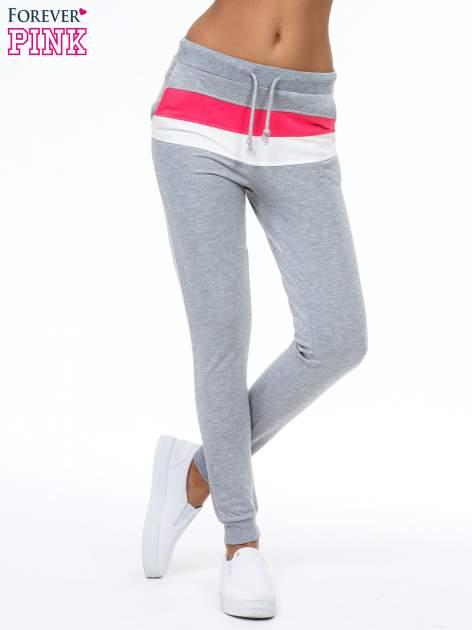 Szare spodnie dresowe z kolorową wstawką                                  zdj.                                  1