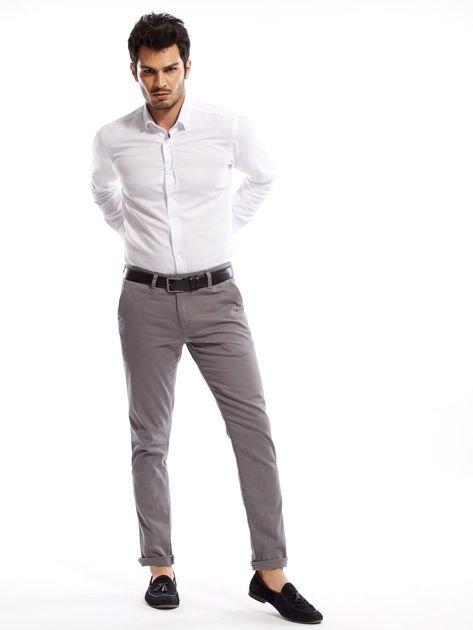 Szare spodnie męskie chinosy o prostym kroju                                  zdj.                                  10