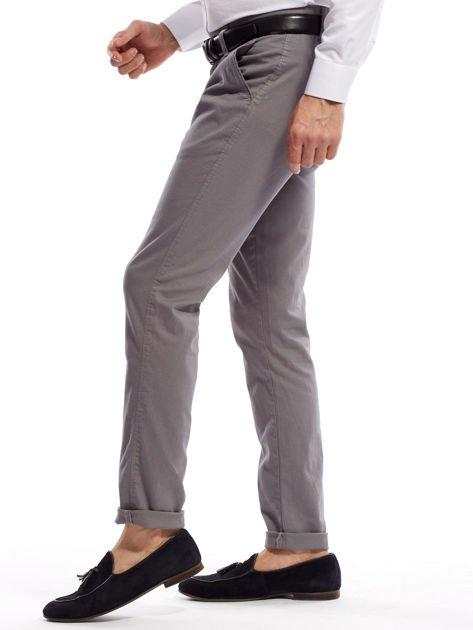 Szare spodnie męskie chinosy o prostym kroju                                  zdj.                                  3