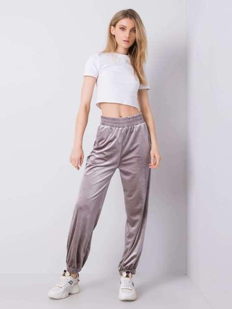 Szare welurowe spodnie dresowe Dianne RUE PARIS