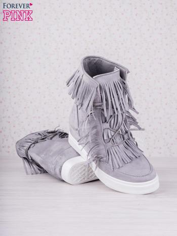 Szare zamszowe botki sneakersy Chalotte na ukrytym koturnie z frędzlami                                  zdj.                                  4