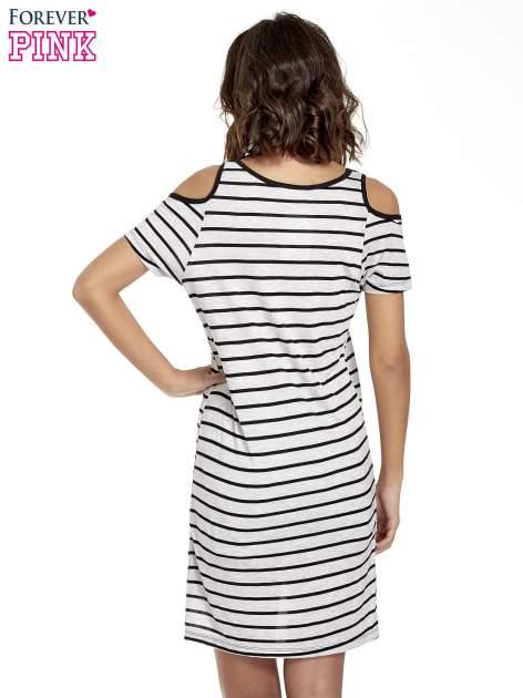Szaro-czarna sukienka w paski cut out shoulder                                  zdj.                                  4