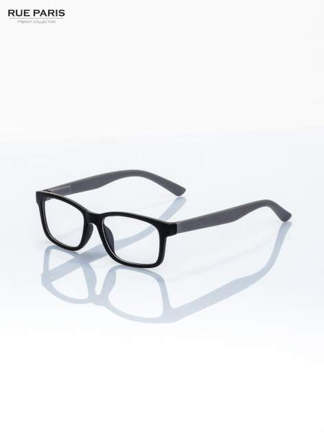 Szaro-czarne okulary zerówki kujonki typu WAYFARER NERDY matowe                                  zdj.                                  2