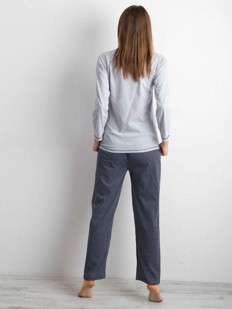 Szaro-granatowa piżama damska dwuczęściowa                              zdj.                              3