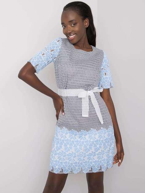 Szaro-niebieska wzorzysta sukienka Katya