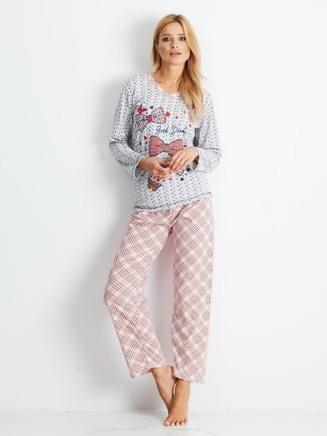 Szaro-różowa piżama Bows                              zdj.                              4