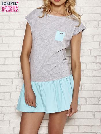 Szaro-turkusowa dresowa sukienka tenisowa z kieszonką                                  zdj.                                  1