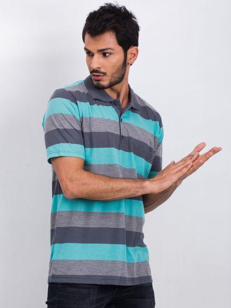 Szaro-turkusowa koszulka męska polo Available