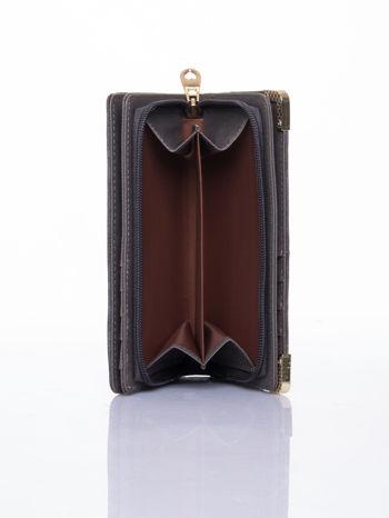 Szary ażurowany portfel ze złotymi okuciami                                  zdj.                                  6