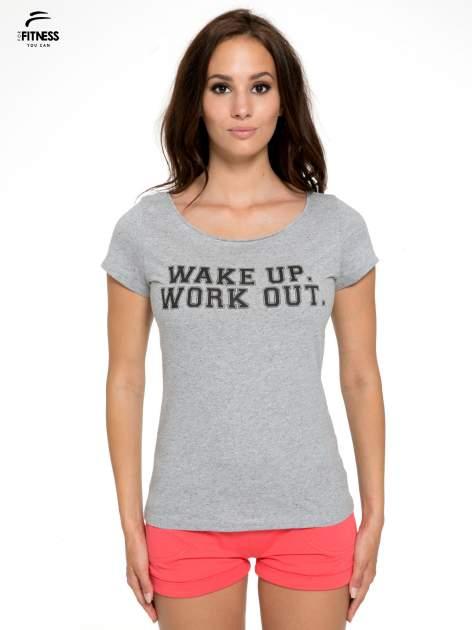 Szary bawełniany t-shirt z nadrukiem tekstowym WAKE UP WORK OUT