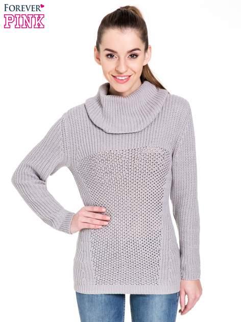 Szary ciepły sweter z golfowym kołnierzem                                  zdj.                                  1