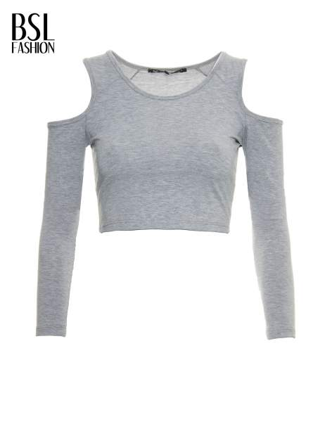 Szary crop top z rękawami cut out                                  zdj.                                  2