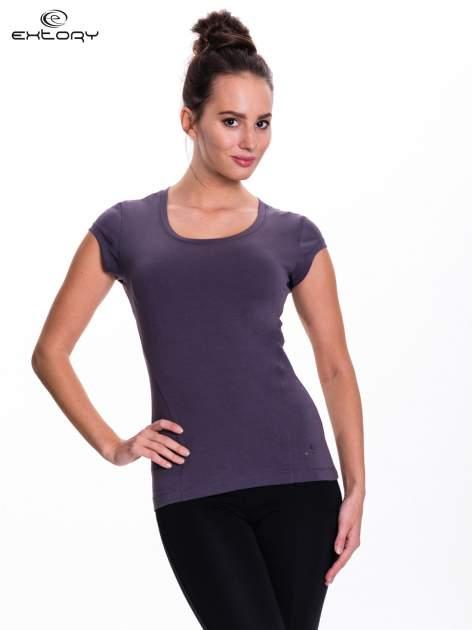 Szary damski t-shirt sportowy basic