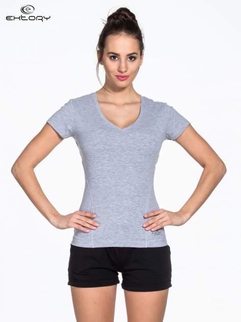 Szary damski t-shirt sportowy z modelującymi przeszyciami                                  zdj.                                  1