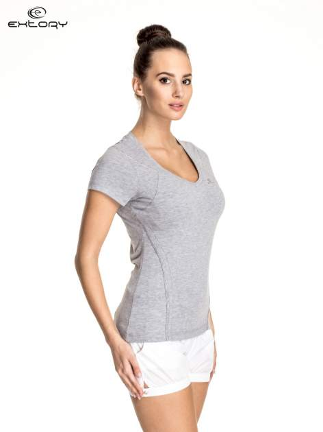 Szary damski t-shirt sportowy ze wzorzystymi wstawkami                                  zdj.                                  3