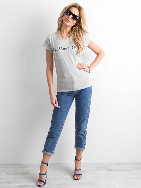 Szary damski t-shirt z napisem                              zdj.                              4