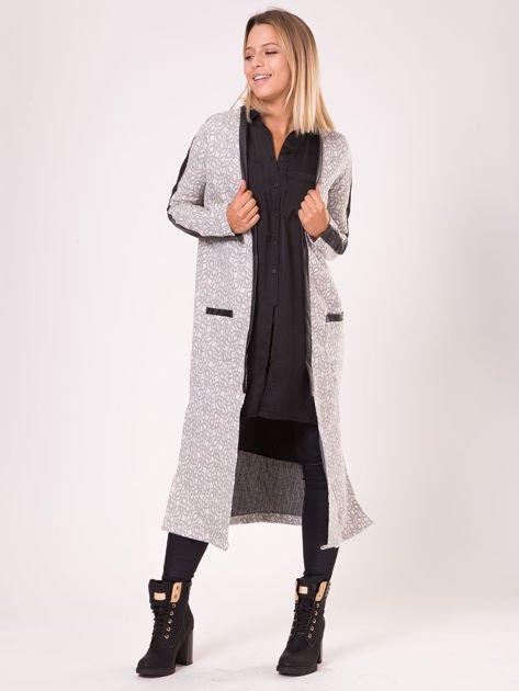 Szary długi płaszcz ze skórzanymi wstawkami                               zdj.                              1