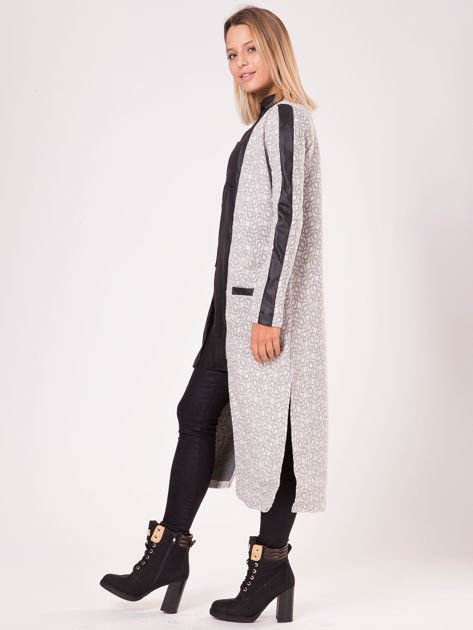 Szary długi płaszcz ze skórzanymi wstawkami                               zdj.                              5