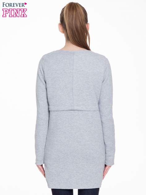 Szary dresowy bluzopłaszczyk o pudełkowym kroju                                  zdj.                                  4