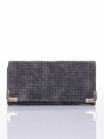 Szary dziurkowany portfel ze złotym wykończeniem                                  zdj.                                  1