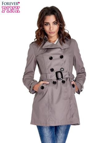 Szary klasyczny płaszcz typu trencz                                  zdj.                                  1