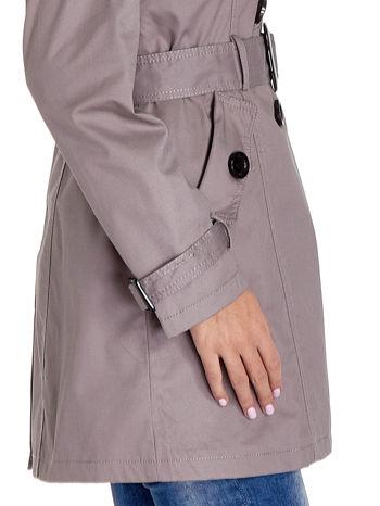 Szary klasyczny płaszcz typu trencz                                  zdj.                                  6