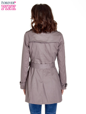 Szary klasyczny płaszcz typu trencz                                  zdj.                                  4